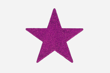Pink Christmas Star Decoration, isolated on white background.
