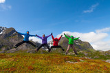 Sporty friends enjoy  holiday break in Norway mountains