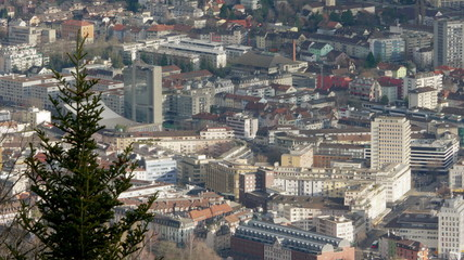 Long time-lapse shot of Biel/Bienne with city center and traffic