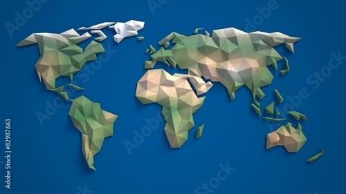 Fototapeta 3d triangular world map