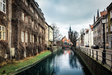 canal and old historic buildings  Gdansk