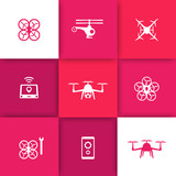 Drones, Multicopter, Quadrocopter icons on square background poster