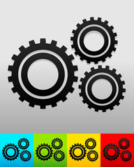 Gear, gearwheel background in 5 colors to match your design. Vec