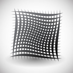 Abstract wavy grid, mesh of curved lines with twisted, spirally