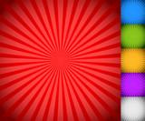 Fototapety Sunburst, starburst background set, colorful rays, beams. Blue,
