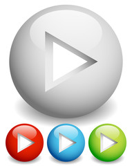Play buttons - Arrow cut in circles with 3d effect.