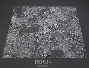 Cartina di Berlino, Germania, vista satellitare, mappa in 3d
