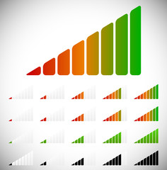 Signal strength, progress or level indicators with 8 steps.