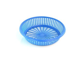 Old plastic basket on a white background