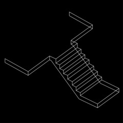 Wire-frame Drawing of a Reinforced Cement Concrete stair