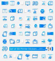 Set of three d printer stickers
