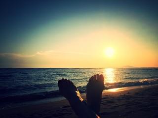 feet under sunlight.