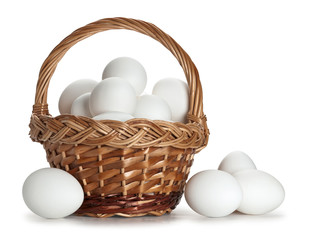 Basket full of white eggs