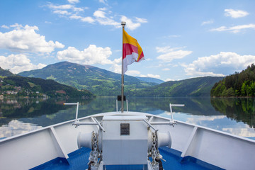 Lake Millstatt View To Mirnock From Ship With Carinthian Flag
