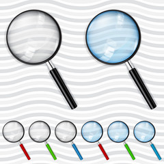Set of transparent magnifiers. Transparency only in vector file