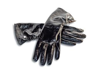 Black gloves isolated on a white background