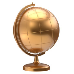 Golden globe blank planet Earth global geography school studying