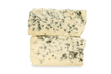 piece of blue cheese on white background