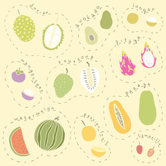 Set of hand drawn tropical fruits part 2