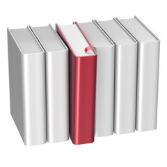 Book choice row white red blank selecting take choosing