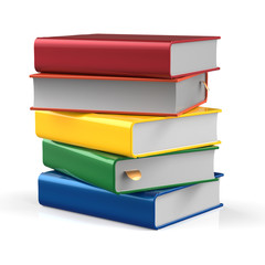 Books blank stack covers different colors five