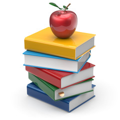 Books red apple colorful textbook education studying read