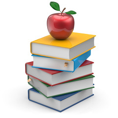 Red apple books stack colorful textbooks school studying