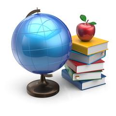 Globe apple books blank knowledge school symbol