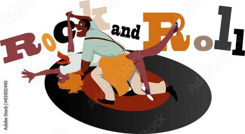Fototapeta Rock and Roll dancers on a vinyl record