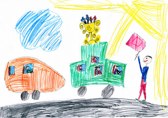 funny cars start racing. child drawing