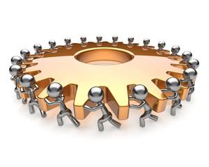 Partnership teamwork hard job business men turning gear