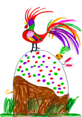 rooster and rabbit on Easter cake. childs drawing