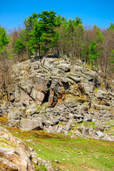 Large Stony Cliff with Many Boulders