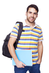 Smiling student standing on white background