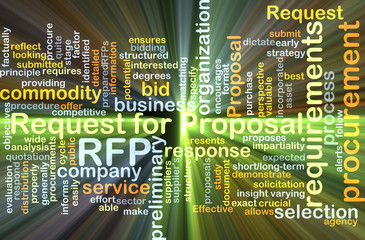 Request for proposal RFP background concept glowing