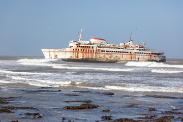 Ferryboat stranded on the shore
