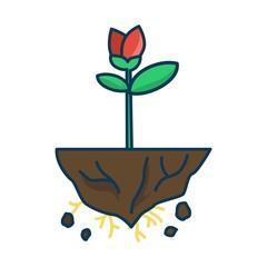 Red Flower Bud Floating in flat design