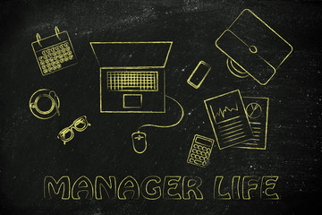 office and manager life: desk with laptop, business plan documen