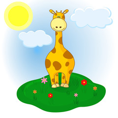 Little giraffe on the meadow