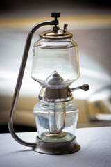 vintage oil lamp at a flea market