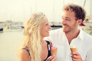 Ice cream - Happy couple eating ice cream cone