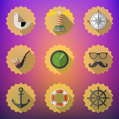 Navy Sailor Marine Flat Vector Icon Set. Include fish sonar rada