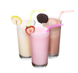 milkshakes chocolate flavor ice cream set collection isolated on