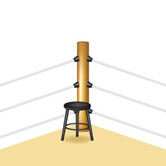 Boxing corner with wooden stool