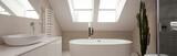 Fototapety White bathroom with modern bath