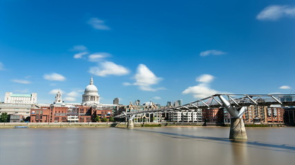 Millennium Bridge Time lapse in London with St. Paul's Cathedral