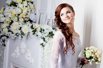 Portrait of beautiful bride. Wedding dress. Decoration