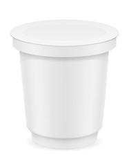 white plastic container of yogurt or ice cream vector illustrati