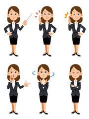 オフィスで働く女性、6種類の仕草と表情