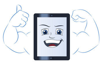 Smiling powerful tablet computer 2
